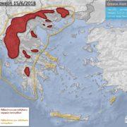 καταιγίδες κακοκαιρία Σαββατοκύριακο χάρτης