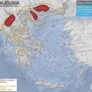 προγνωστικός χάρτς καιρού καταιγίδες βόρεια Ελλάδα