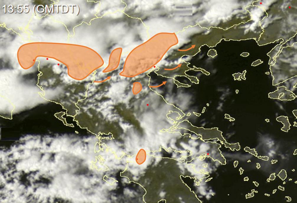 nowcast καταιγίδες βόρεια Ελλάδα δορυφορική